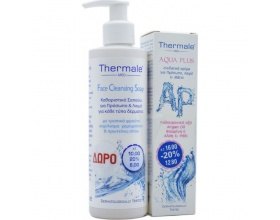 Thermale Med SET GIFT Face Cleansing Soap With Aqua Plus Cream, Thermale Med ενυδατική προσώπου με Υαλουρονικό οξύ και Argain Oil, 75ml και ΔΩΡΟ Καθαριστικό Σαπούνι για πρόσωπο και λαιμό για κάθε τύπο δέρματος 250 ml