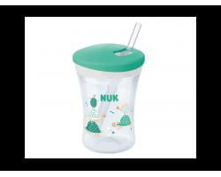 Nuk Evolution Action Cup 12+m, Εκπαιδευτικό Ποτηράκι με Καλαμάκι Χρώμα Πράσινο με Χελωνάκι, 230ml.