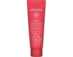 APIVITA BEE SUN SAFE Anti-Spot & Anti-Age Face Cream SPF50 Tinted, Αντηλιακή κρέμα προσώπου κατά των πανάδων & των ρυτίδων με θαλάσσια φύκη & πρόπολη με χρώμα 50ml