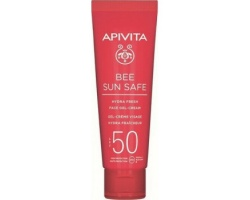 APIVITA BEE SUN SAFE Hydra Fresh Face Gel cream SPF50 ,Ενυδατική κρέμα - τζέλ για πρόσωπο ελαφριά υφή με θαλάσσια φύκη & πρόπολη 50ml