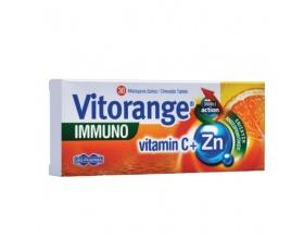 UNIPHARMA Vitorange Immuno Vitamin C + Zn Συμπλήρωμα διατροφής με τη συνεργιστική δράση της Βιταμίνης C και του Ψευδαργύρου, για ενίσχυση του ανοσοποιητικού και προστασία απο το οξειδωτικό στρες 30 Μασώμενα Δισκία