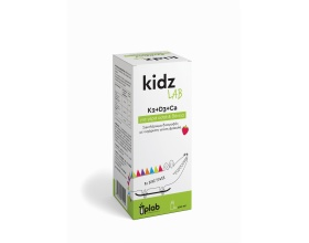 Uplab  KidzLab K2+D3+Ca Συμπλήρωμα διατροφής σύνθετη φόρμουλα στην υγεία των οστών και των δοντιών με γεύση φράουλα 120ml