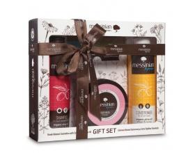 Messinian Spa Gift Set Shampoo Με Ρόδι & Σταφύλι 300ml - Μάσκα Μαλλιών Ρόδι & Δαφνέλαιο 250ml - Κρέμα Μαλλιών Σιτάρι & Μέλι 300ml