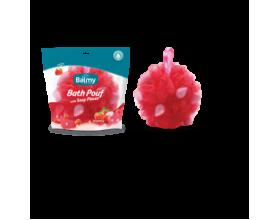 Vican Balmy Bath Pouf with soap pieces Σφουγγάρι με πέρλες σαπουνιού, με άρωμα φράουλα 1τεμάχιο