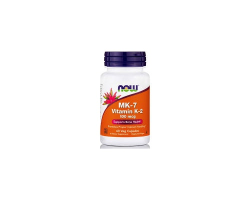 Now Foods MK-7 Vitamin K-2 100 mcg Καρδιαγγειακή Υγεία, Πήξη του Αίματος, Γερά Οστά & Αντιοξειδωτική Δράση 60 φυτικές κάψουλες