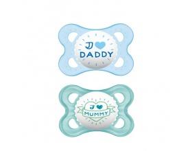 MAM, I Love Mummy & Duddy 115s, Πιπίλα για το Νεογέννητο 2-6 μηνών, χρώμα μπλέ-Γαλάζιο, 2τμχ