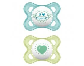 MAM, I Love Mummy & Duddy 115s, Πιπίλα για το Νεογέννητο 2-6 μηνών, χρώμα μπλέ-Πράσινο, 2τμχ