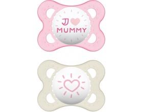 MAM, I Love Mummy & Duddy 115s, Πιπίλα για το Νεογέννητο 2-6 μηνών, χρώμα Ροζ, 2τμχ