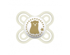 Mam Perfect Start, Πιπίλα Σιλικόνης για Βρέφη 0-2m, Ειδικά Σχεδιασμένη για να Μειώσει τον Κίνδυνο των Στραβών Δοντιών, Άσπρο Αρκουδάκι,128S,  1τμχ