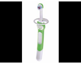 MAM Training Brush with Shield 605, Εκπαιδευτική οδοντόβουρτσα με ασπίδα προστασίας, για βρέφη 5+ μηνών, Χρώμα Πράσινο, 1 τμχ