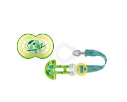 Μam Clip It & Original 319S, Σετ Κορδέλα στήριξης για Κάθε Τύπο Πιπίλας & ορθοδοντική πιπίλα  6+ μηνών Πράσινο, 1 τμχ