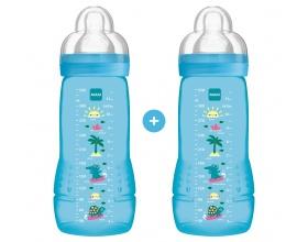 Mam Μπιμπερό Πολυπροπυλενίου (PP)  Πλαστικό μπιμπερό  Με Θηλή Σιλικόνης Από 4+ Μηνών 2 X 330ml χρώματος Μπλε