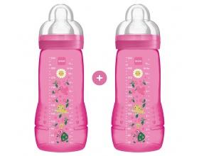 Mam Μπιμπερό Πολυπροπυλενίου (PP)  Πλαστικό μπιμπερό  Με Θηλή Σιλικόνης Από 4+ Μηνών 2 X 330ml χρώματος Ρόζ