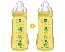 Mam Μπιμπερό Πολυπροπυλενίου (PP)  Πλαστικό μπιμπερό  Με Θηλή Σιλικόνης Από 4+ Μηνών 2X330ml χρώματος κίτρινο
