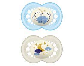 Mam, Night 260S, Πιπίλα με Θηλή από Σιλικόνη Μετάξι που Λάμπει στο Σκοτάδι, 16+ μηνών, Χρώμα Μπλε, 2 τμχ