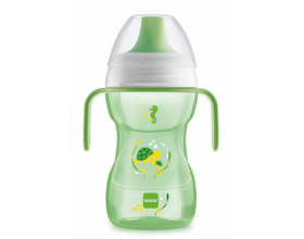 Mam ποτηράκι Fun to drink cup, Ανατομικός σχεδιασμός για εύκολο κράτημα, Δεν στάζει, χάρη στην κατοχυρωμένη με δίπλωμα ευρεσιτεχνίας βαλβίδα του χρώματος πράσινο 270 ml