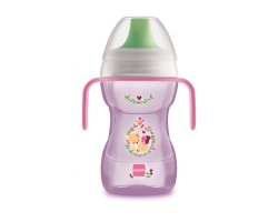 Mam ποτηράκι Fun to drink cup, Ανατομικός σχεδιασμός για εύκολο κράτημα, Δεν στάζει, χάρη στην κατοχυρωμένη με δίπλωμα ευρεσιτεχνίας βαλβίδα του χρώματος ρόζ 270 ml