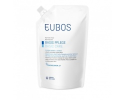 EUBOS, Blue Liquid Washing Emulsion Refill, Ανταλακτικό υγρό καθαρισμού για κανονικό και μικτό δέρμα με φυσιολογικό ph χωρίς άρωμα  400ml