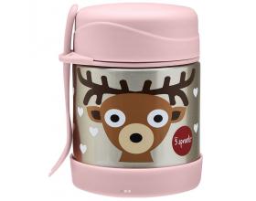 3 Sprouts Food Jar & Spork, Ανοξείδωτος Θερμός Φαγητού με Κουταλοπίρουνο, Deer, 350ml.