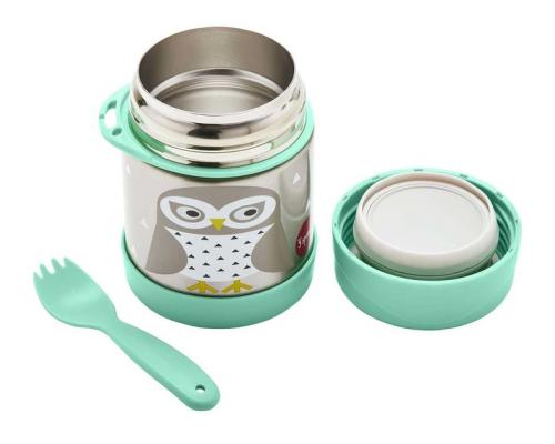 3 Sprouts Food Jar & Spork, Ανοξείδωτος Θερμός Φαγητού με Κουταλοπίρουνο, Owl, 350ml.