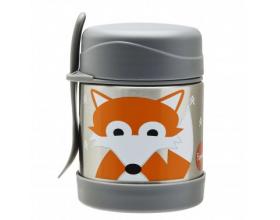 3 Sprouts Food Jar & Spork, Ανοξείδωτος Θερμός Φαγητού με Κουταλοπίρουνο, Fox, 350ml.