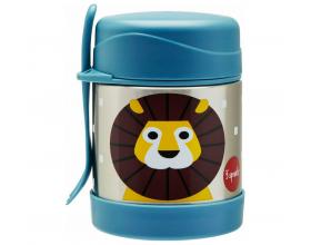 3 Sprouts Food Jar & Spork, Ανοξείδωτος Θερμός Φαγητού με Κουταλοπίρουνο, Lion, 350ml.