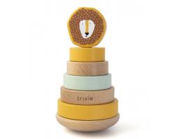 Trixie Stacking Toy, Ξύλινη Πυραμίδα με Κλιμακωτούς Κυλίνδρους 12+m, Mr Lion, 1τμχ.