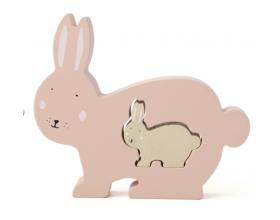 Trixie, Wooden Baby Puzzle, Βρεφικό Ξύλινο Πάζλ, Mrs Rabbit, 18m+, 1τμχ.