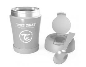 Twistshake Stainless Steel Food Container, Θερμός Φαγητού από Ανοξείδωτο Ατσάλι με Κουταλάκι, Χρώμα Γκρί, 350ml.