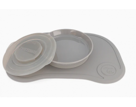 Twistshake, Suction Mat &Plate &Lid, Αντιολισθητικό Σουπλά με Αποσπώμενο Πιάτο, Χρώμα Γκρί, 78442, 1τμχ.