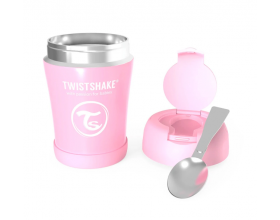 Twistshake Stainless Steel Food Container, Θερμός Φαγητού από Ανοξείδωτο Ατσάλι με Κουταλάκι, Χρώμα Ρόζ, 350ml.