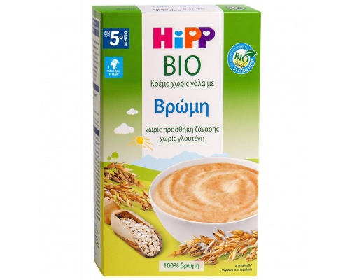 Hipp Bio, Κρέμα Χωρίς Γάλα με Βρώμη από τον 5ο μήνα, 200gr