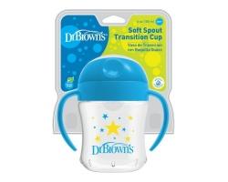 Dr. Brown's  Soft-Spout Cup 15/61001, Κύπελλο με Μαλακό Στόμιο με Καπάκι και Λαβές, μπλε, 6m+, 180ml, 1τμχ