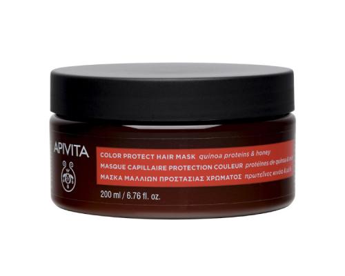 Apivita Color Protect Hair Mask  Μάσκα προστασίας χρώματος ειδικά σχεδιασμένη για τις ανάγκες των βαμμένων μαλλιών με Πρωτεΐνες Κινόα & Μέλι  200ml