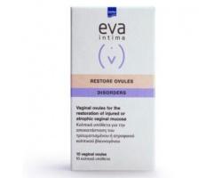 Intermed Eva Restore Ovules Κολπικά υπόθετα με υαλουρονικό οξύ Επούλώση και ανακούφιση του κολπικού βλεννογόνου 10 κολπικά υπόθετα