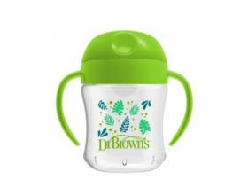 Dr.Brown's Cup 15/61001, Κύπελλο με Μαλακό Στόμιο με Καπάκι και Λαβές, χρώμα Πράσινο, 6m+, 180ml