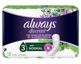 Always Discreet for Sensitive Bladder Normal, Σερβιέτες Ακράτειας για Κανονική Poή, 12 τμχ.