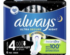 Always Ultra Secure Night Size 4, 6 Σερβιέτες.